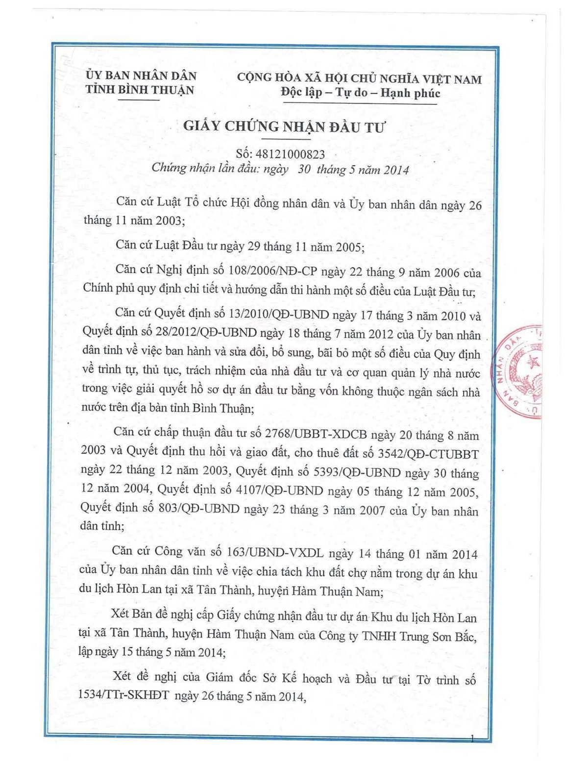 Giay chung nhan dau tu Thanh Long Bay