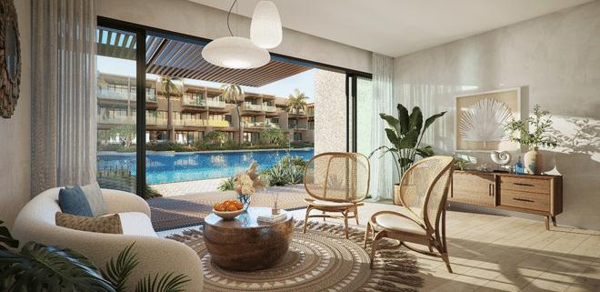 Điểm nổi bật của The Song là sân vườn với diện tích gần 1.400 m2 được thiết kế đúng phong cách resort biển gồm sân vườn, hồ bơi, sân chơi…